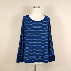 prAna Blue Stripe Whitley Pullover Sweater XL